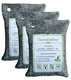 200g Charcoal Grey - Natural air Purifying Bag, Bamboo Charcoal air freshener, Odor eliminating Bag Perfect for deodorants in Cars, wardrobes, bathrooms and pet Areas (3)