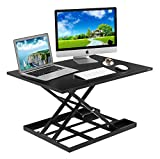 Standing Desk Stand Up Desks Height Adjustable Sit Stand Converter Laptop Stands Large Wide Rising Black Dual Monitor PC Desktop Computer Riser Table Workstation Foldable Extender Ergonomic 32 inch