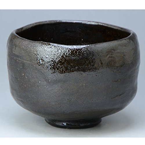 Kiyomizu-kyo yaki ware. Japanese Matcha kuro raku chawan teabowl Fuku with paper box. Ceramic. kymz-toua842