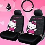 New Design 4 Pieces Hello Kitty Car Seat Cover with Steering Wheel Cover and Air Freshener