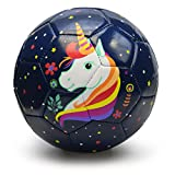 PP PICADOR Toddler Soft Soccer Ball Cute Cartoon Kids Ball Toy Gift with Pump (Dark Blue Unicorn, Size 1)