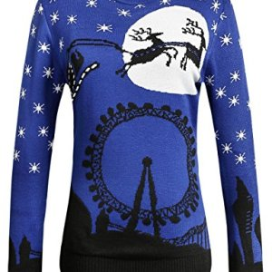 Camii Mia Women's Reindeer Crew Neck Pullover Ugly Christmas Sweater