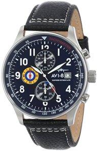 AVI-8 Men's AV-4011-03 Hawker Hurricane Analog Japanese-Quartz Blue Dial Black Leather Band Watch