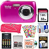 Vivitar ViviCam F126 Digital Camera (Pink) with 32GB Card + Batteries & Charger + Pouch Case + Stickers Pack + Kit