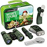 9-in-1 Outdoor Exploration Kit for Young Kids - Tin Case with Binoculars, Fan, Magnifying Glass, Hand-Crank Flashlight, and 5-in-1 multi-tool, Storage Tin Case