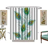 luvoluxhome Shower Curtain Collection by Watercolor Feathers Paper W72 x L72 Custom Made Shower Curtain
