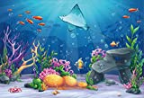LFEEY 10x8ft Cartoon Underwater World Backdrop Baby Shower Photo Booth Wallapper Fairytale Seabed Scenery Under The Sea Fishes Photo Background for Kids Girls Boys Birthday Party Decoration