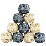 Set Of 10 Pcs Cotton Crochet Thread Spun Skein Embroidery Tatting Gray Beige