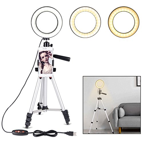 """B-Land 5.7"""" Ring Light with Tripod Stand for YouTube Video and Makeup, Mini LED Camera Light with Cell Phone Holder Desktop LED Lamp with 3 Light Modes & 11 Brightness Level"""