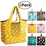 Grocery-Bags-Shopping-Reusable-Foldable-Bags 6 Pack With Square Pouch Grocery Bags Cloth Reusable Bags Ripstop Washable Bag Large Durable Light Weight Cactus Shrink Proof Tropical