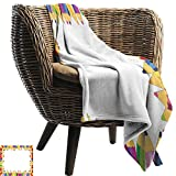BelleAckerman Flannel Throw Blanket,Kids Party,Frame of Colorful Pencils Fun School Time Theme Education Drawing Creativity,Multicolor,for Bed & Couch Sofa Easy Care 35'x60'