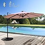 Patiorama Commerical 10 Feet Aluminum Solar Powered LED Offset Cantilever Outdoor Patio Umbrella with Bluetooth Stereo Speaker and Steel Cross Base, 250g/sqm Polyester, Beige …