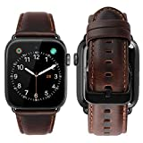iBazal Compatible with Apple Watch Band 42mm 44mm,Genuine Leather Strap Replacement for iWatch Series 4 44mm Series 3 Series 2 Series 1 42mm Sports&Edition&Nike+ Men Women-42/44mm Coffee+Black Clasp