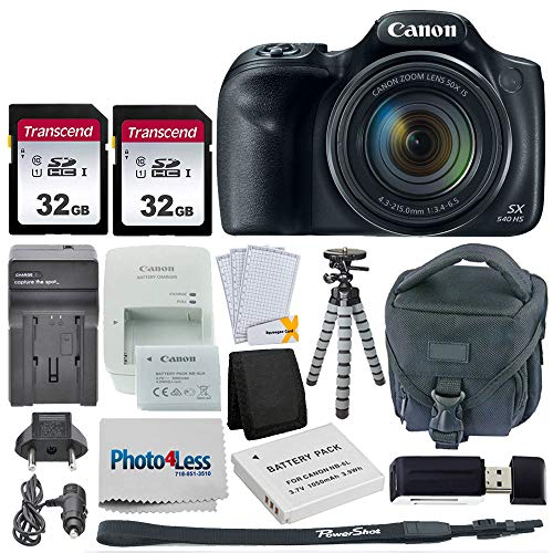 Canon-PowerShot-SX540-HS-Digital-Camera-2x-32GB-Memory-Card-Camera-Bag-Flexible-Tripod-Replacement-Battery-Travel-Charger-USB-Card-Reader-Screen-Protectors-Cleaning-Cloth-Accessories