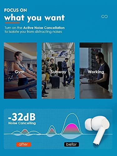 Hyeing Active Noise Cancelling True Wireless Earbuds,Bluetooth 5.2 in-Ear Headphones, Sweat Waterproof Hi-Fi Earphone,36H TV Gaming Headset with 4 HD ANC Microphones,for Smartphone Gifts Gym