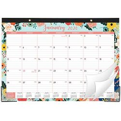 2020-2021 Desk Calendar – 18 Months Desk/Wall Calendar 2-in-1, 17″ x 12″, January 2020 – June 2021 with Hanging Holes, Ruled Blocks – Floral
