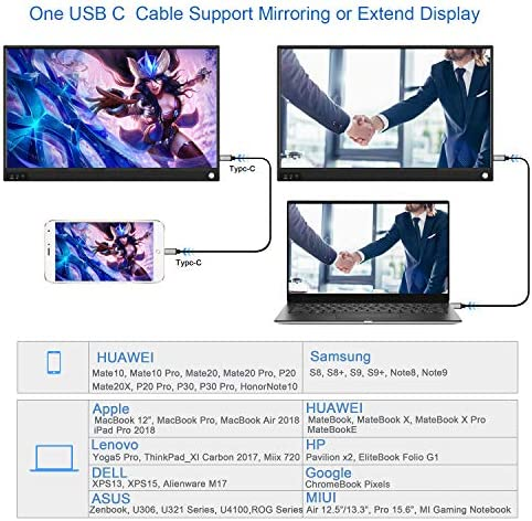 ZSCMALLS Portable Monitor 15.6 Inch Full HD Computer Display USB C Dual Monitor with Speaker, Gaming Monitor for PS3 PS4 Xbox Nintendo Raspberry pi 14