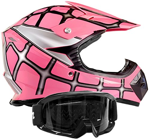 Kids Youth Offroad Gear Combo Helmet & Goggles DOT Motocross ATV Dirt Bike MX Motorcycle Spiderman Pink, M Medium