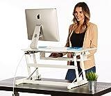 Adjustable Standing Desk Converter   32' Wide White Adjustable Desk Sit Stand Desk Riser Fits Dual Monitors (32' Wide)