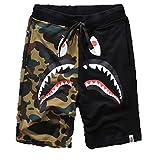 Athletic Pants Shark Pattern Camouflage Stitching Shorts Men Drawstring Sports Shorts(Black L)