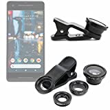 DURAGADGET 3-Piece Smartphone Camera Lens Attachments - Fish Eye, Wide Angle & Macro - Compatible with Google Pixel|Pixel 2|Pixel XL|Pixel 2 XL