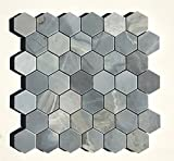 "Genoa Blue 2"" Hexagon Honed Marble Mosaic Tile Backsplash Wall Floor"