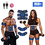Abs StimulatorAb StimulatorMuscle Toner Rechargeable Muscle Trainer Ultimate Abs Stimulator for Men Women Abdominal Work Out Ads Power Fitness Abs Muscle Training Gear ABS Workout Equipment Portable