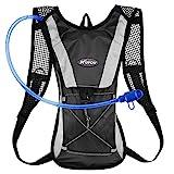 KUYOU Hydration Pack Water Rucksack Backpack Bladder Bag Cycling Bicycle Bike/Hiking Climbing Pouch + 2L Hydration Bladder,(Black+Water Pouch)