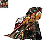 CHASOEA Gingerbread Man Super Soft Lightweight Blanket Delicious Homemade Cookies Dried Fruits and Bakery Tools Festive Rustic Summer Quilt Comforter 90'x70' Multicolor