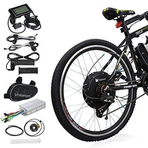 """Voilamart 26"""" Rear Wheel Electric Bicycle Conversion Kit, 48V 1000W E-bike Motor Kit with LCD Display, Intelligent Controller and PAS System, 750W Power Limited for Road Bike"""