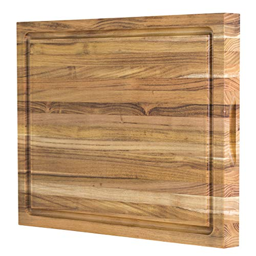 Large Reversible Teak Wood Cutting Board: 18x14x1.25 with Juice Groove (Gift Box Included) by Sonder Los Angeles