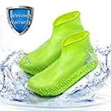 Waterproof Shoe Covers, Homestine Silicone Shoe Covers Waterproof Boot Reusable Non-Slip Rain Galoshes Stretchable Silicone Rubber Shoe Protectors for Cycling Outdoor Camping Fishing (Green, Medium)