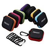 Meuxan 8-Pack Earbud Case Mini Storage Carrying Pouch with Carabiner for Earphone Headphone USB Cable Flash Drive, 8 Colors