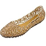 PhiFA Womens Jelly Ballet Flats Shoes Gold US Size 9