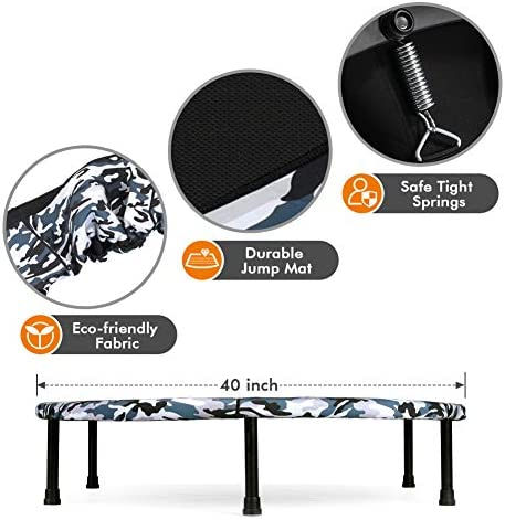 """2020 Upgraded Wamkos 40"""" Rebounder Mini Exercise Trampoline for Adults Kids,Indoor Foldable Fitness Trampoline Trainer with Resistance Bands for Sports & Outdoor,Yoga and Other Jumping Cardio Exercise 8"""