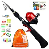 YONGZHI Kids Fishing Pole with Spincast Reel Telescopic Fishing Rod Combo Full Kits for Boys, Girls, and Adults