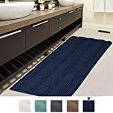 Bath Rug Runner for Bathroom 47x17 inch Oversize Non-Slip Bathroom Rug Shag Soft Thick Floor Mat Machine-Washable Bath Mat Runner with Water Absorbent Striped Rugs for Powder Room, Navy