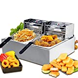 Nurxiovo 16L Commercial Electric Deep Fryer with Double Basket Capacity Countertop Stainless Steel Fryer French Fries Restaurant Home Kitchen 2 Tank