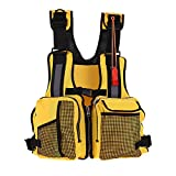VGEBY Kayaking Fishing Life Jacket Watersports Life Jacket with Multi-Pockets Whistle and Reflective Stripe (Color:Yellow)