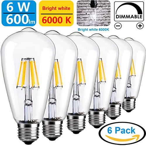 Led vintage edison light bulbs 6w dimmable retro decorative led vintage edison light bulbs 6w dimmable retro decorative farmhouse light bulb clear st64 antique e26 squirrel cage filament light bright cool white 6000k aloadofball Image collections