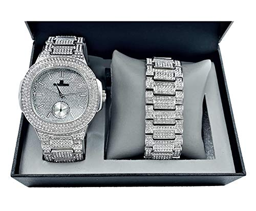 Bling-ed Out Oblong Case Metal Mens Watch w/Matching Bracelet Gift Set - 8475B - Silver