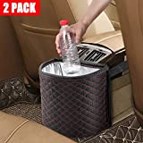 KNGUVTH Car Garbage Cans Hanging Vehicle Trash Bags Bins Drive, Portable Auto Garbage Bags Litter Organizers Trash Pail with Adjust Headrest Holder Waterproof Mini Container Car Accessories (2 Pack)