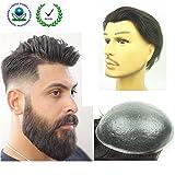 PU Skin Toupee for Men, N.L.W. European Human Hair Pieces for Men with 10' x 8' PU Thin 0.04cm Skin, 2 Dark Brown