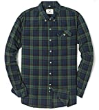 Men's Long Sleeve Flannel Plaid Checkered Button Down Casual Dress Shirts Green2 Large