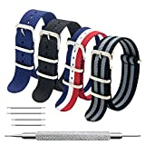 CIVO NATO Strap 4 Packs - 20mm 22mm Premium Ballistic Nylon Watch Bands Zulu Style with Stainless Steel Buckle (Black+Black Grey+ Navy Blue+ Red White Navy, 22mm)