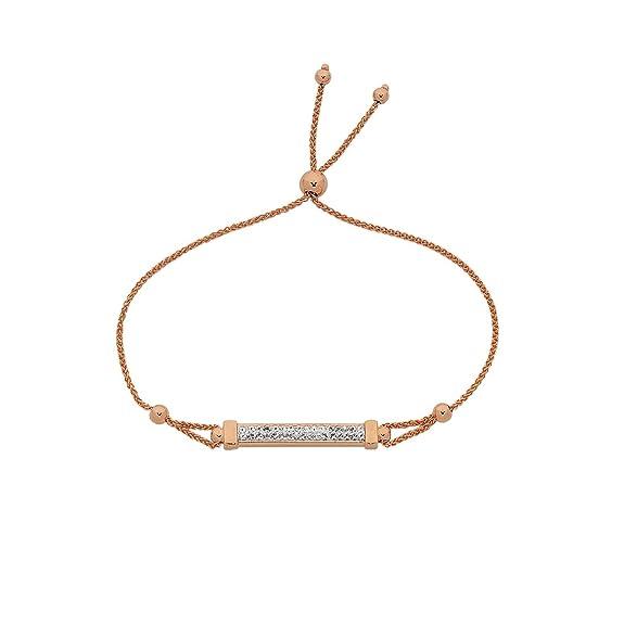 Bevilles 9ct Rose Gold Silver Infused Crystal Bar Adjustable Bracelet Wheat
