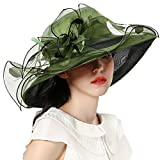 June's Young Women Race Hats Organza Hat with Ruffles Feathers Blackish Green Polka Dot