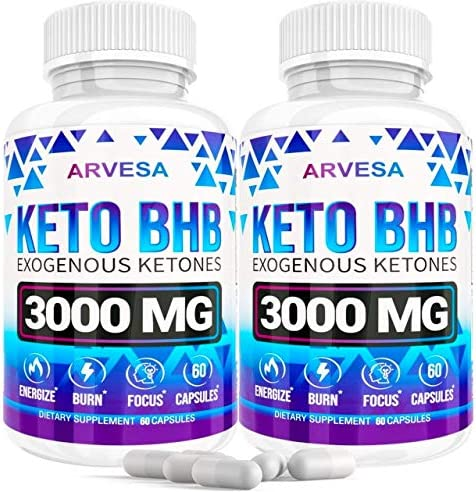 Keto Diet Pills - 5X Dose (2 pack | 3000mg Keto BHB) - Best Exogenous Ketones BHB Supplement for Women and Men - Boost Energy & Focus, Support Metabolism - Made in USA - 120 Capsules 3