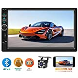 Double Din Car Stereo,TouchScreen Car MP5/4/3 Player with Rear-View Camera,AM FM Radio Receiver, Bluetooth Audio and Calling, Mirror Link,Support Steering Wheel Remote Control,Support Android & iPhone