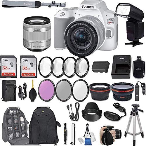 Canon EOS Rebel SL3 (White) DSLR Camera with EF-S 18-55mm f/4-5.6 is STM Lens + 2Pcs 32GB Sandisk SD Memory + Digital Flash + Filter & Macro Kits + Backpack + 50' Tripod + More ...
